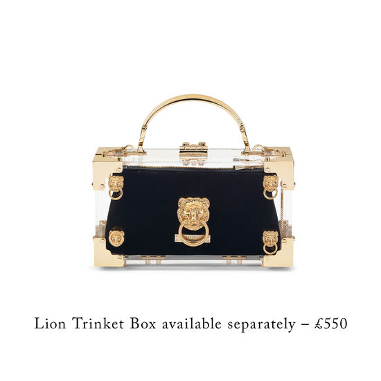 Trinket Box Internal Pouch in Black Velvet from Aspinal of London