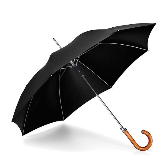 Walking Length Automatic Umbrella with Maple Wood Handle in Black from Aspinal of London
