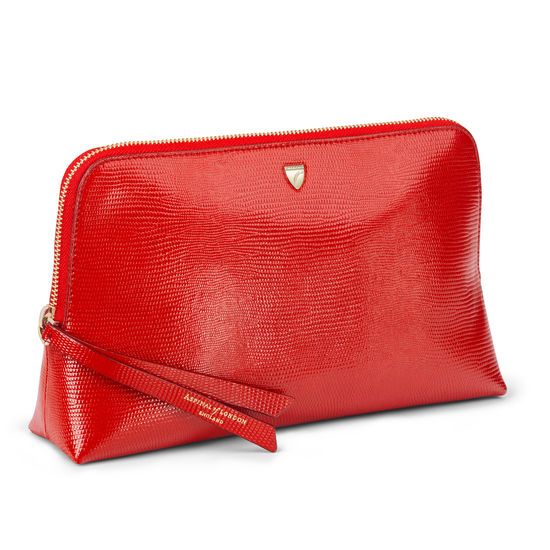 Large Essential Cosmetic Case in Scarlet Silk Lizard from Aspinal of London