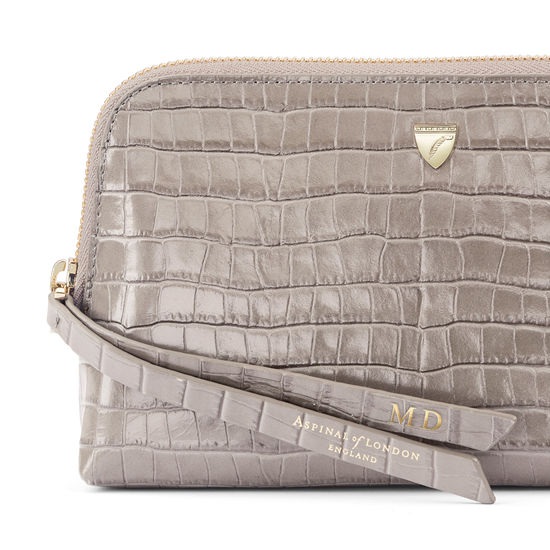 Small Essential Cosmetic Case in Deep Shine Warm Grey Small Croc from Aspinal of London