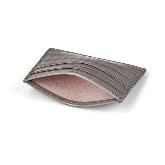 Slim Credit Card Holder in Deep Shine Warm Grey Small Croc from Aspinal of London