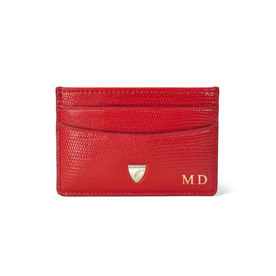 Slim Credit Card Holder in Scarlet Silk Lizard from Aspinal of London