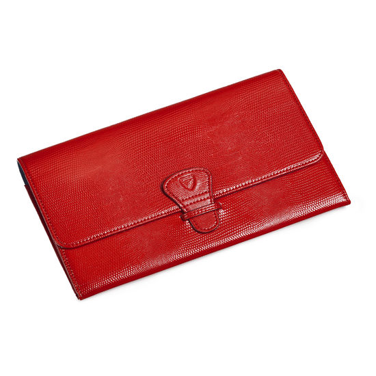 Travel Wallet with Removable Inserts in Scarlet Silk Lizard from Aspinal of London