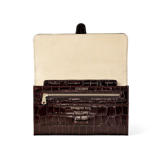 Travel Wallet with Removable Inserts in Deep Shine Amazon Brown Croc from Aspinal of London