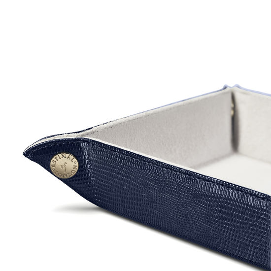 Mini Tidy Tray in Midnight Blue Lizard & Cream Suede from Aspinal of London