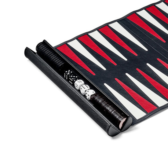 Travel Backgammon Set in Black Pebble from Aspinal of London