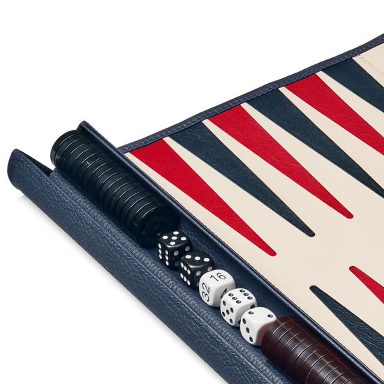 Travel Backgammon Set in Navy Pebble from Aspinal of London