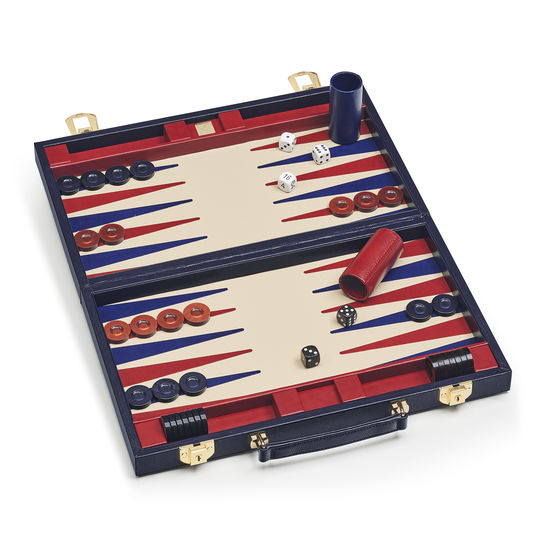 15-inch Backgammon Set in Midnight Blue Silk Lizard from Aspinal of London