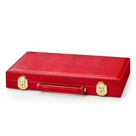 15-inch Backgammon Set in Scarlet Silk Lizard from Aspinal of London
