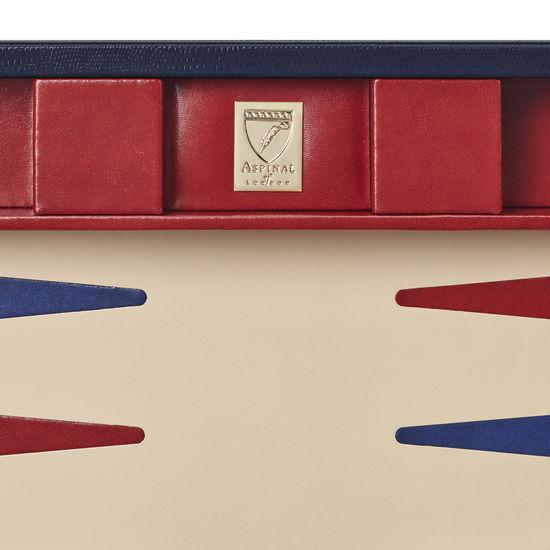 17-inch Backgammon Set in Midnight Blue Silk Lizard from Aspinal of London