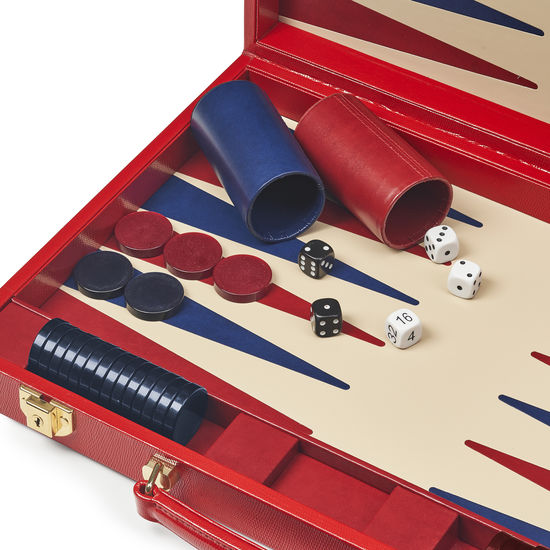17-inch Backgammon Set in Scarlet Silk Lizard from Aspinal of London