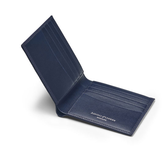 8 Card Billfold Wallet in Navy Pebble from Aspinal of London