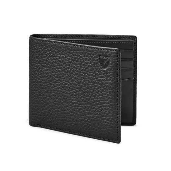 8 Card Billfold Wallet in Black Pebble from Aspinal of London