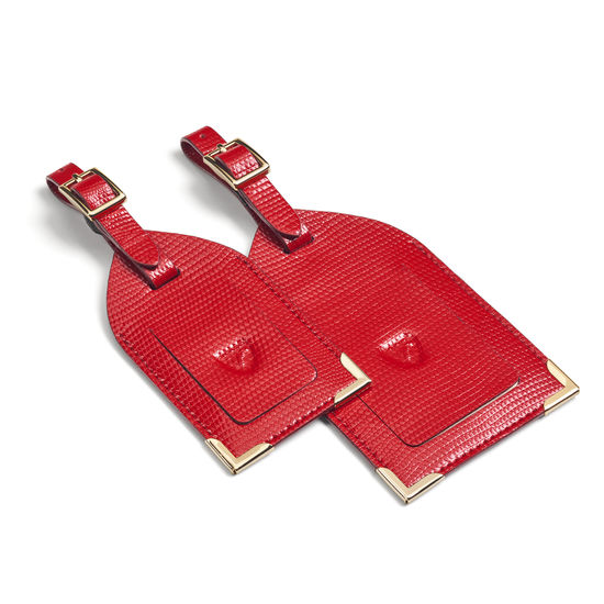 Set of 2 Luggage Tags in Scarlet Silk Lizard from Aspinal of London