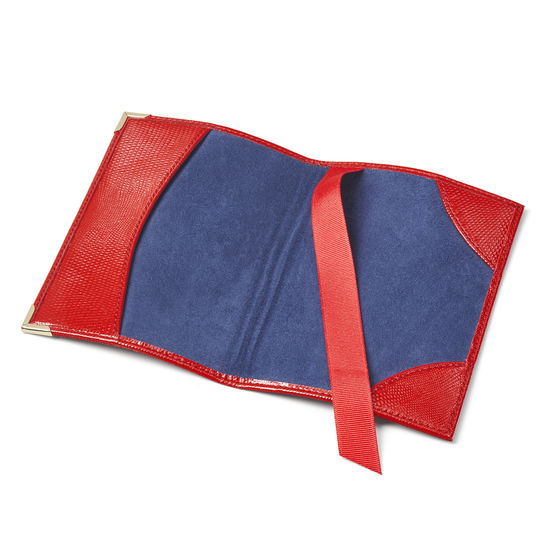 Passport Cover in Scarlet Silk Lizard from Aspinal of London