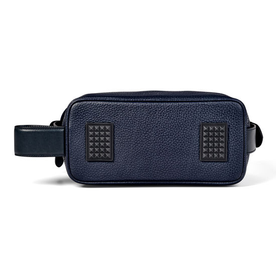 Reporter Wash Bag in Navy Pebble from Aspinal of London