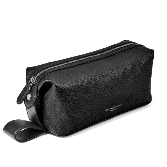 Reporter Wash Bag in Black Pebble from Aspinal of London