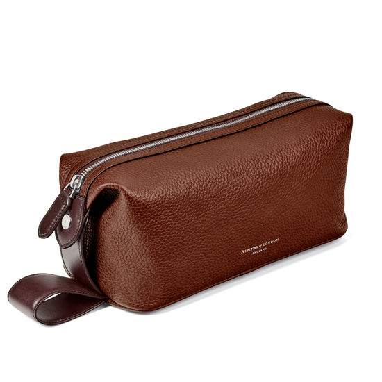 Reporter Wash Bag in Tobacco Pebble from Aspinal of London