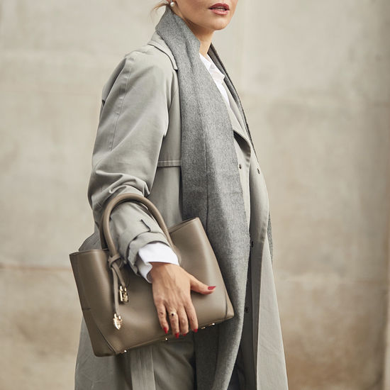 Midi London Tote in Warm Grey Pebble from Aspinal of London