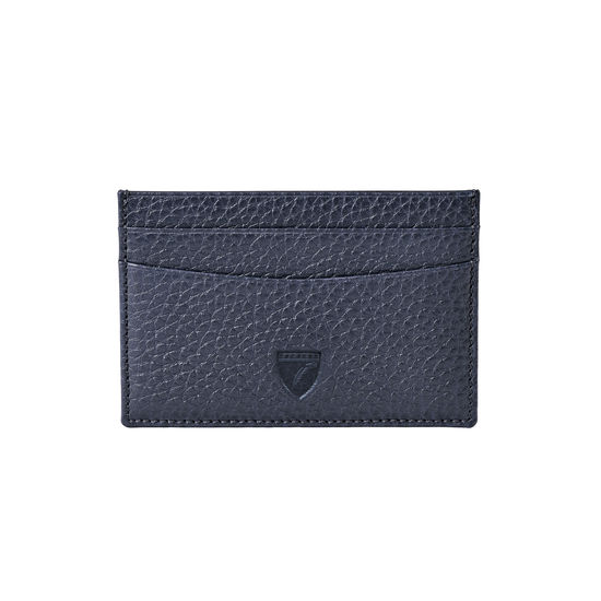 Slim Credit Card Holder in Navy Pebble from Aspinal of London