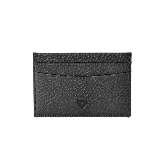 Slim Credit Card Holder in Black Pebble from Aspinal of London