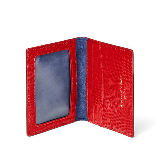 ID & Travel Card Holder in Scarlet Silk Lizard from Aspinal of London