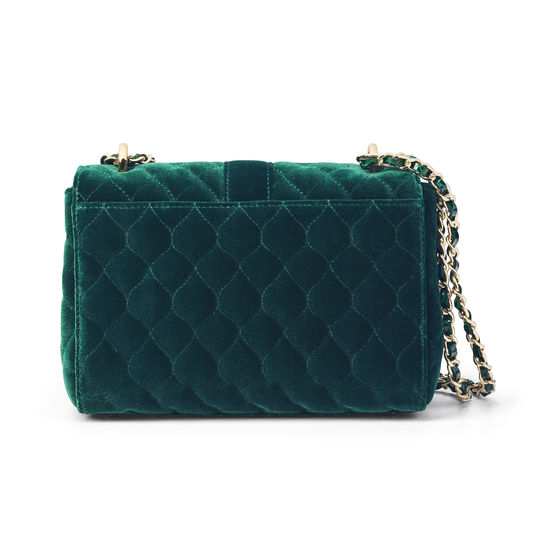 Lottie Bag in Bordeaux Quilted Velvet & Evergreen Patent Croc from Aspinal of London