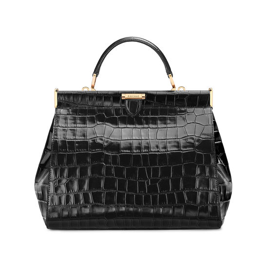 Large Florence Frame Bag in Deep Shine Black Croc from Aspinal of London