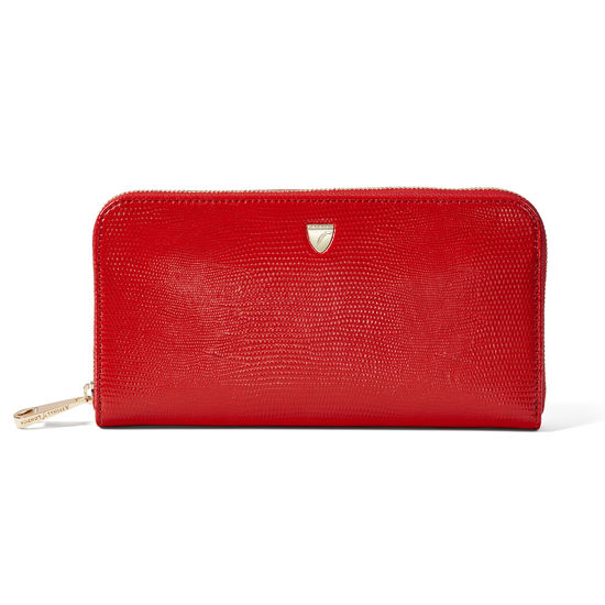 Continental Purse in Scarlet Silk Lizard from Aspinal of London