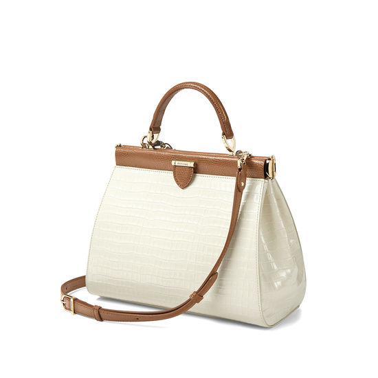 Small Florence Frame Bag in Deep Shine Ivory Small Croc & Camel Lizard from Aspinal of London