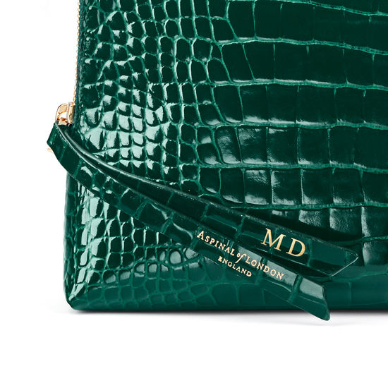 Large Essential Cosmetic Case in Evergreen Patent Croc from Aspinal of London