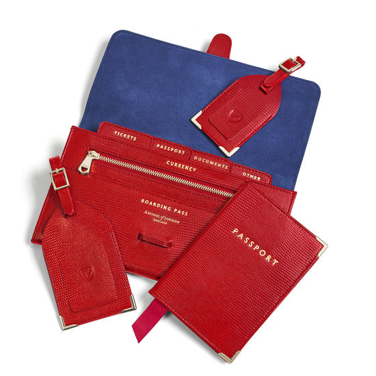 Travel Collection with Removable Inserts in Scarlet Silk Lizard from Aspinal of London