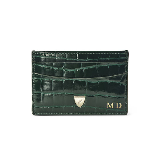 Slim Credit Card Holder in Evergreen Patent Croc from Aspinal of London