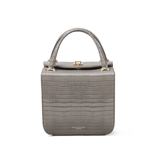 Gigi Bag in Deep Shine Warm Grey Small Croc from Aspinal of London