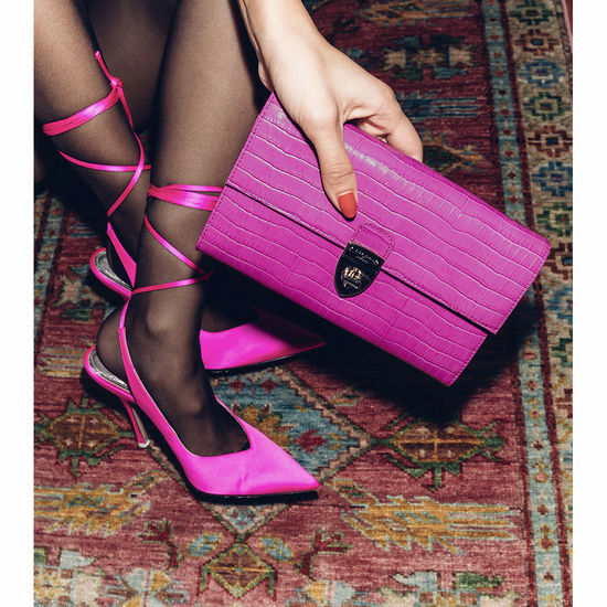 Mayfair Clutch in Deep Shine Hibiscus Small Croc from Aspinal of London
