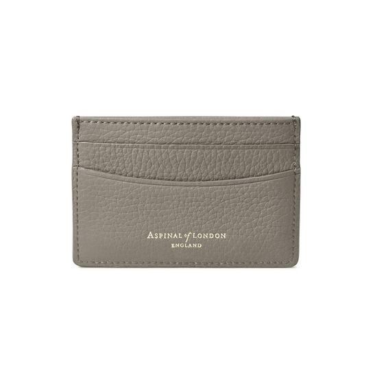 Slim Credit Card Holder in Warm Grey Pebble from Aspinal of London
