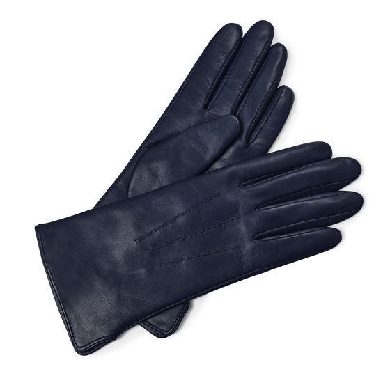 Ladies' Cashmere Lined Leather Gloves in Navy Nappa from Aspinal of London