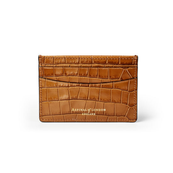 Slim Credit Card Holder in Deep Shine Vintage Tan Small Croc from Aspinal of London