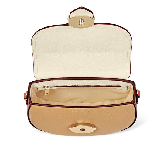 Saddle Bag in Chestnut, Sand, Ivory & Marmalade Pebble from Aspinal of London