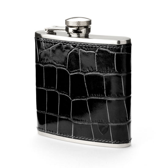Classic 5oz Leather Hip Flask in Deep Shine Black Croc from Aspinal of London