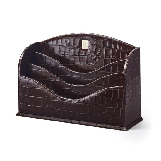 Stationery Rack in Deep Shine Amazon Brown Croc & Stone Suede from Aspinal of London
