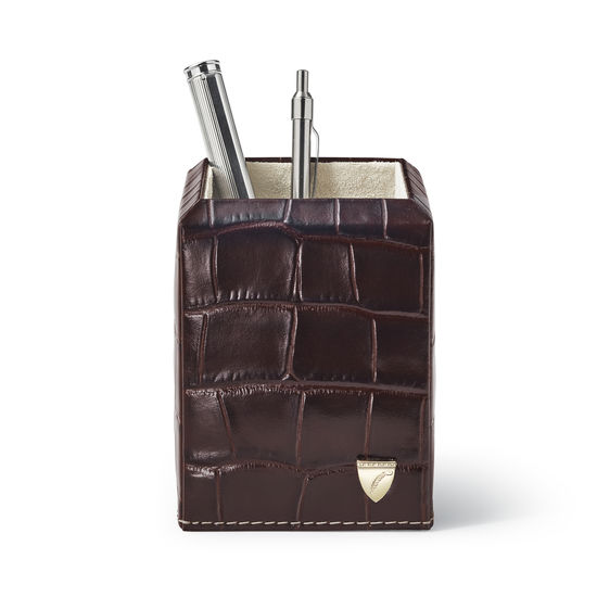 Square Pen Pot in Deep Shine Amazon Brown Croc & Stone Suede from Aspinal of London