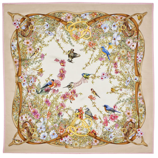 Edwardian Garden Silk Scarf in Putty Pure Silk Twill from Aspinal of London