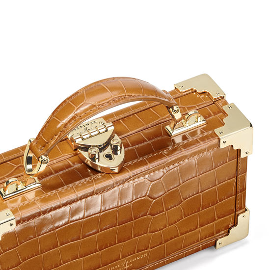 Trinket Box in Deep Shine Vintage Tan Small Croc from Aspinal of London