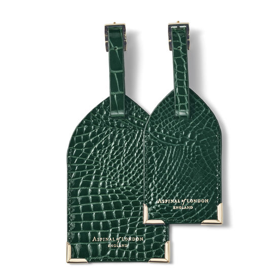 Set of 2 Luggage Tags in Evergreen Patent Croc from Aspinal of London