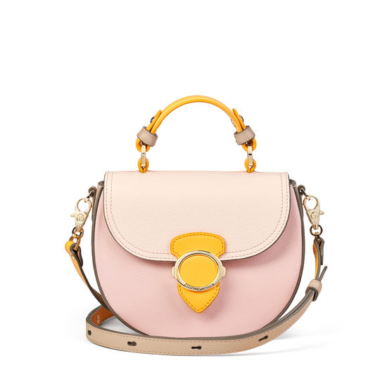 Saddle Bag in Shell Pink, Bloomsbury, Soft Taupe & Mandarin Pebble from Aspinal of London