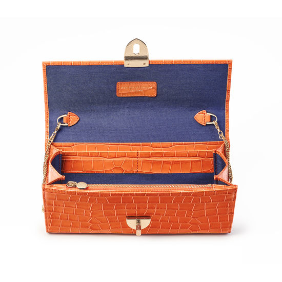 Mayfair Clutch in Deep Shine Marmalade Small Croc from Aspinal of London