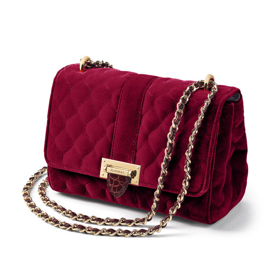 Lottie Bag in Bordeaux Quilted Velvet & Bordeaux Patent Croc from Aspinal of London