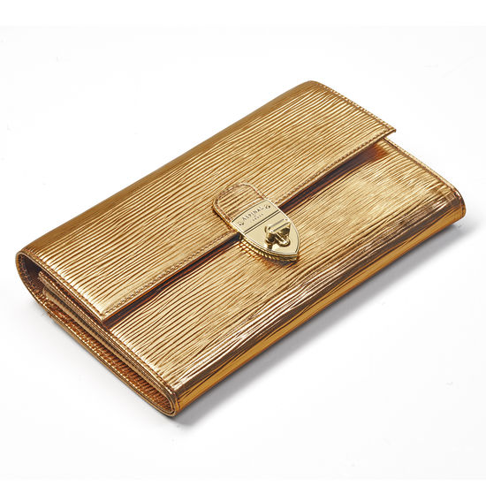 Mayfair Clutch in Zoloto Metallic from Aspinal of London