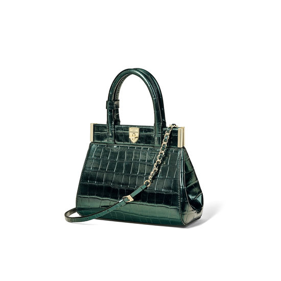 Grace Bag in Dragonfly Croc Print from Aspinal of London